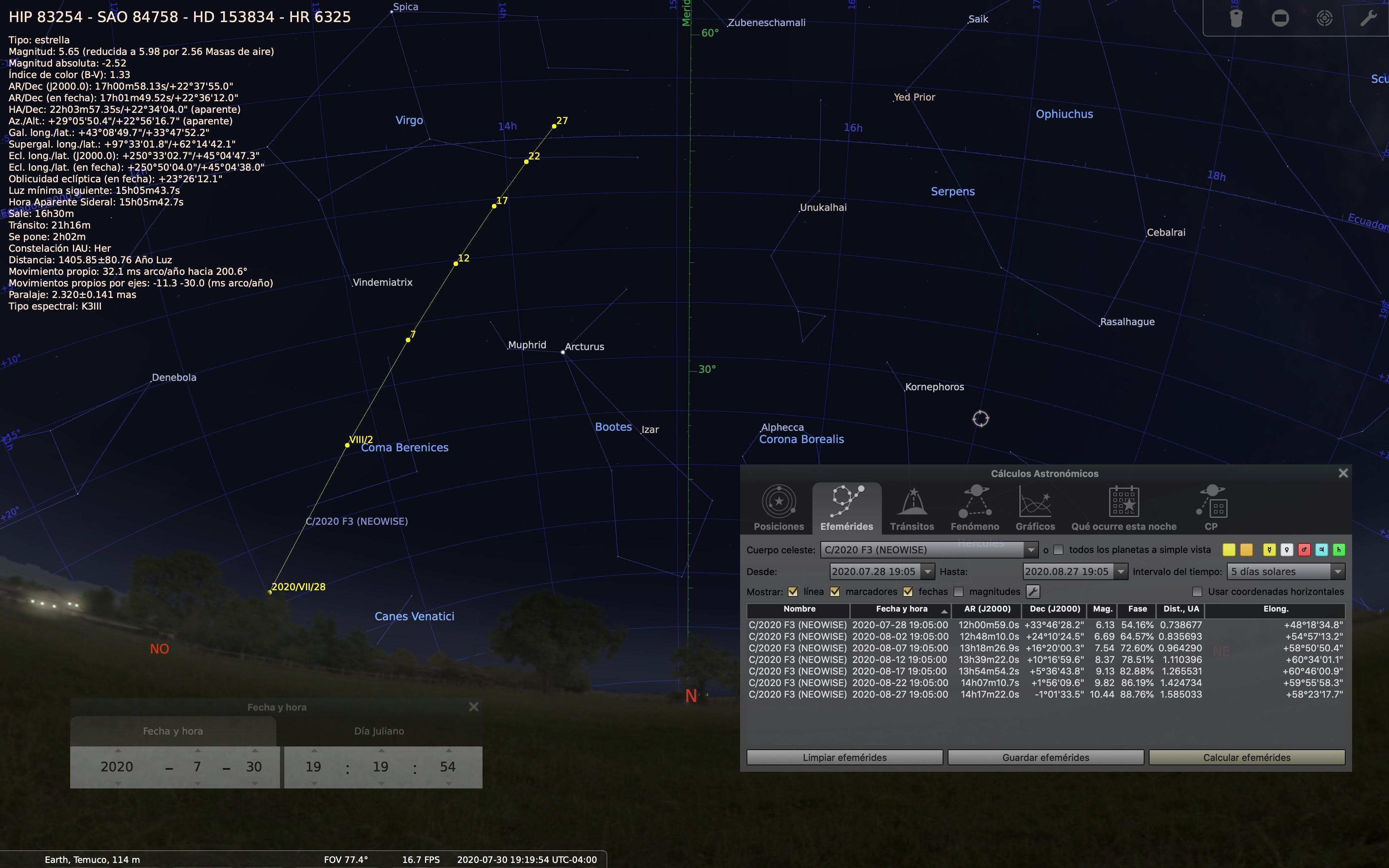 Trayectoria del cometa NEOWISE vista desde Temuco